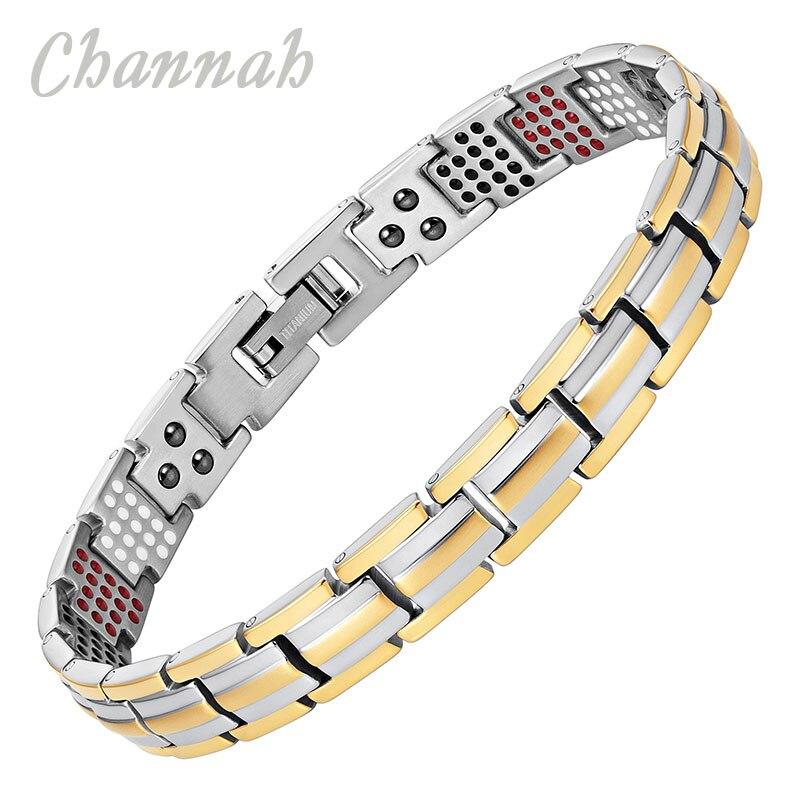 Channah 2017 Women Gold Bio Health Bracelet 4in1 Magnets Negative Ions Germanium Far Infra Red Titanium