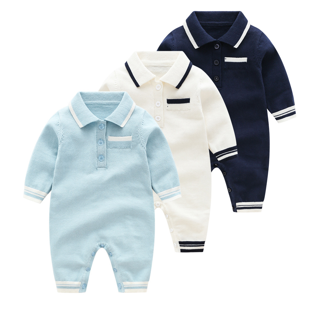 Baby Boys Clothes Newborn Long Sleeve   Rompers   Spring Turn-Down Neck Toddler One Piece Jumpsuits Cotton Knitting Children Outfits