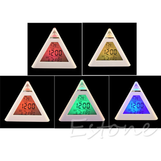 big sale New 7 Color LED Color Changing Digital Pyramid Thermometer Alarm Clock