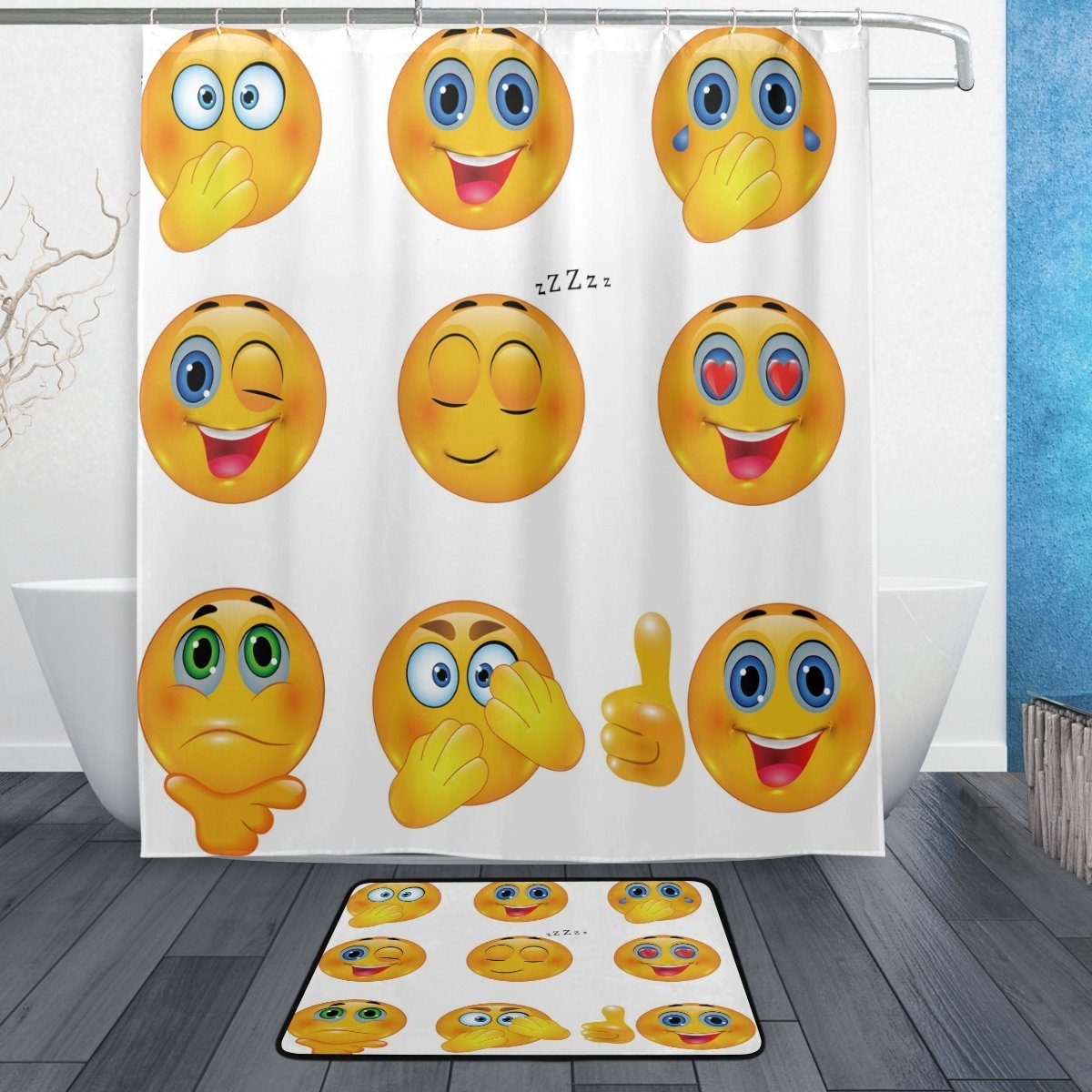 Funny Emoji Shower Curtain And Mat Set 3D Yellow Smiley Emotional Faces Waterproof Fabric Bathroom