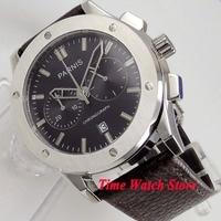44mm PARNIS Full chronograph quartz Men's watch stop watch black dial date window leather strap deployant clasp 1074