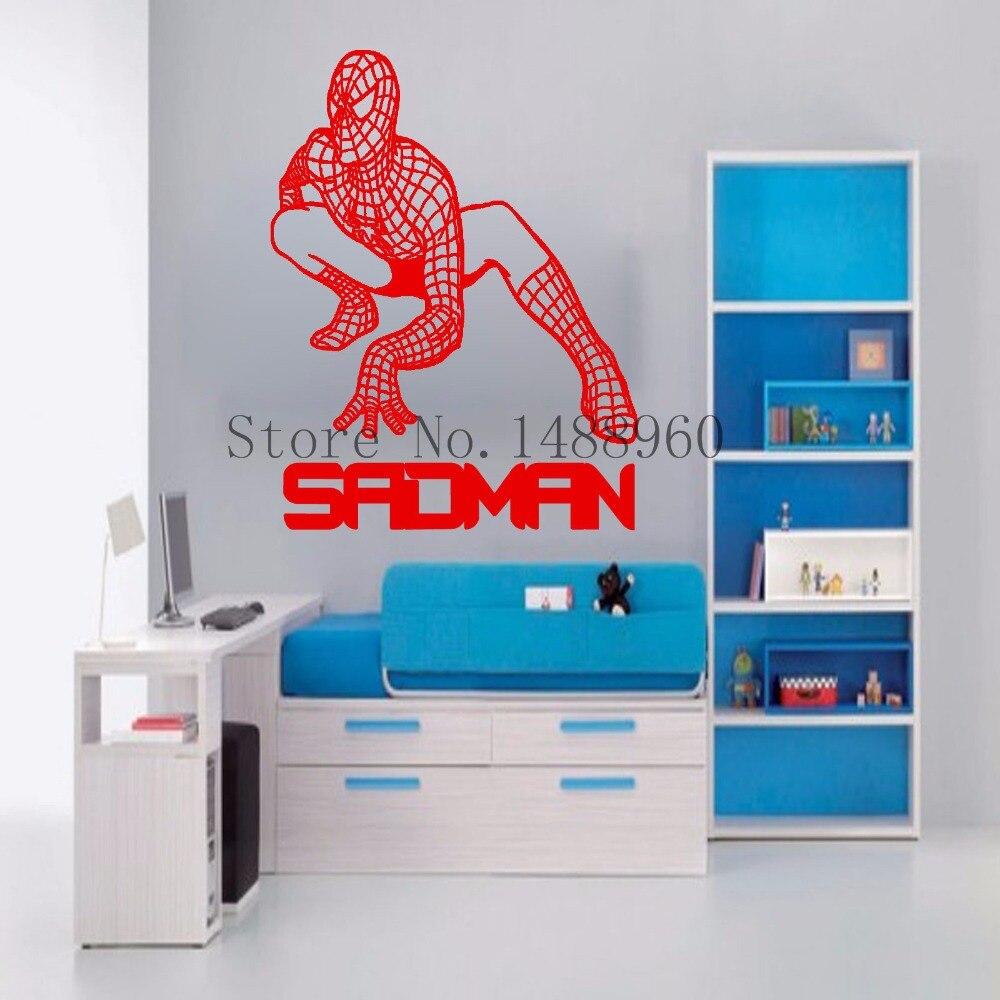 E843 Personalized custom name <font><b>Spiderman</b></font> <font><b>art</b></font> <font><b>Wall</b></font> <font><b>stickers</b></font> <font><b>home</b></font> decor Decal <font><b>DIY</b></font> poster BOYS Mural <font><b>kids</b></font> <font><b>room</b></font> Nursery