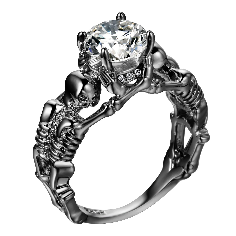 UFOORO Ghost Evil Skull skelett Hand CZ Ring Euroopa ja Ameerika Punk - Mood ehteid - Foto 3