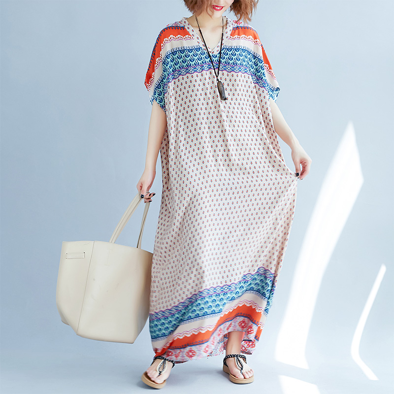 Wholesale female plus size bohemian printed long dress womens beach maxi dresses v-neck short sleeve summer cloth jn100 ...