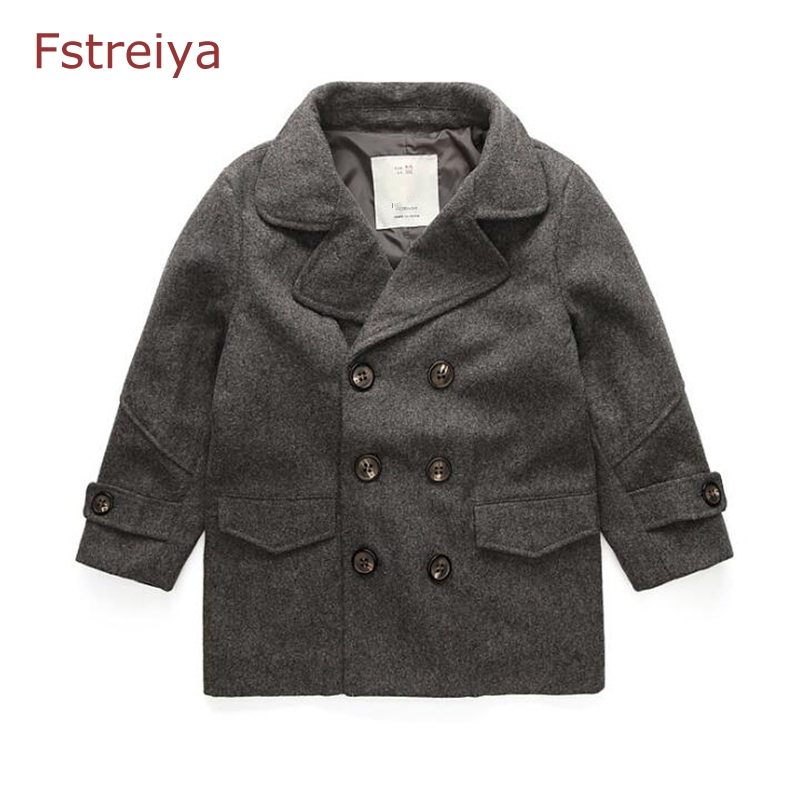 Wool winter coat girl spring wool coat for boys kids jacket girls long jacket boy windbreaker children clothing kids clothes 2017 children wool fur coat winter warm natural 100% wool long stlye solid suit collar clothing for boys girls full jacket t021