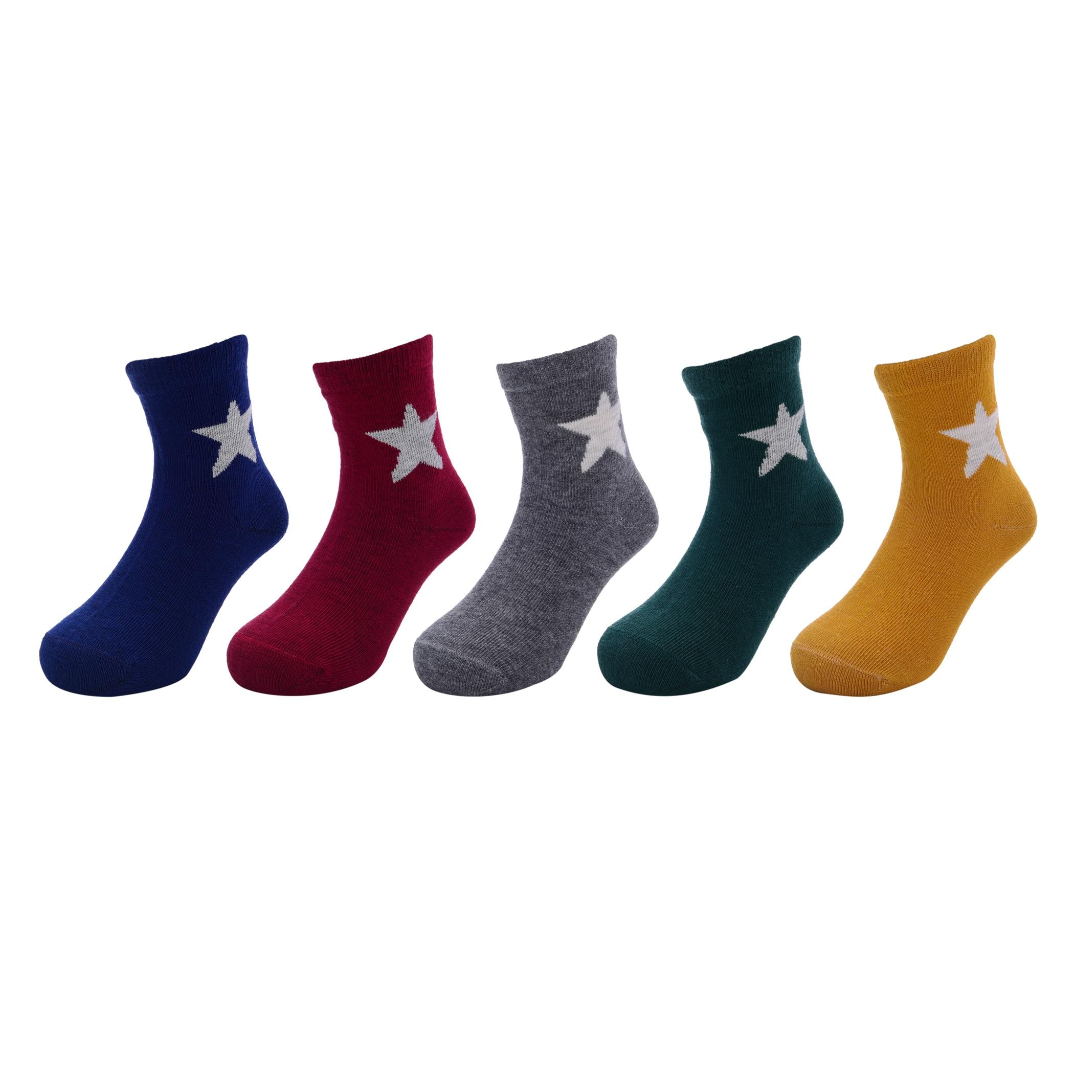 5 Pairs/lot Kid Boys Socks Cotton Print Star Fashion Children Socks For 3-12 Years