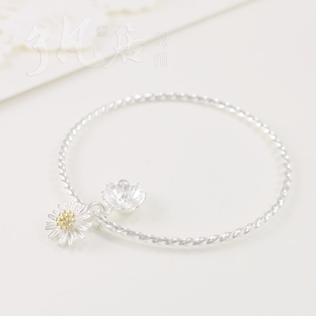 12MM Diameter 58-62MM 925 sterling-silver-jewelry Bracelet Daisy flower beautiful cute gift jewelry for Lady adjustable fashion