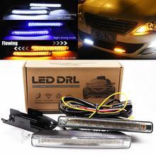 цена на Daytime Running Lights LED DRL Flowing Turn Signal 12V Waterproof White Yellow Blue Lamp For Car Auto Driving daylight Fog Light