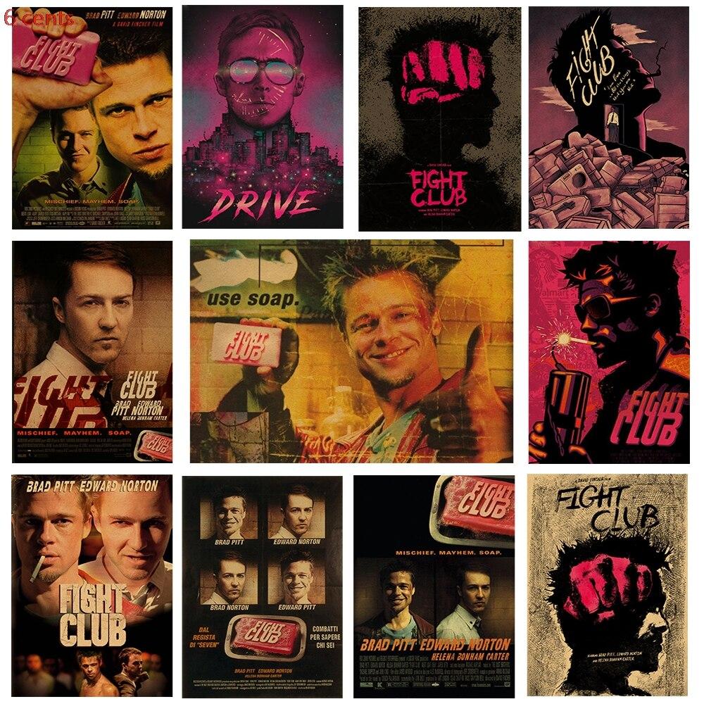 Carteles clásicos de películas, club de Lucha, adornos de pared de papel marrón, carteles vintage, pegatinas de pared, pinturas decorativas, carteles de arte
