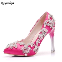 New Exquisite Fashion Rhinestone Pumps Heels Wedding Shoes For Women White Beading Pink Thin High Heels Wedding Shoes XY-A0012