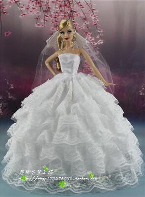 Genuine for princess barbie dress for barbie doll dresses clothes wedding dress set wedding gown fashion outfits accessories toy