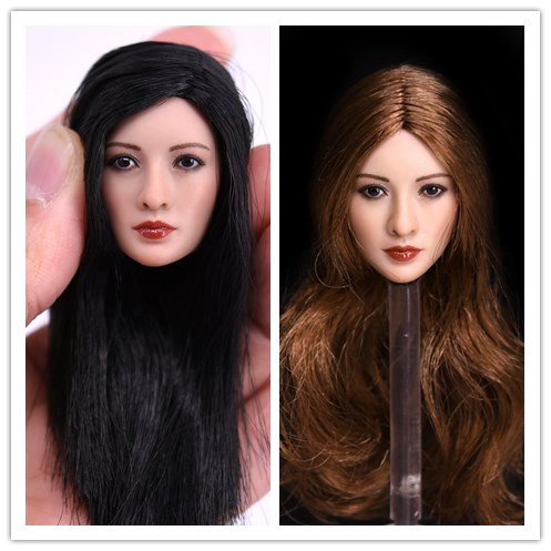 1:6 Scale Female head Sculpt  for 12 Hot Toys Phicen Female Action Figure Asian beauty Model Toys soldier model Doll toys gift 1 6 scale female head shape for 12 action figure doll accessories doll head carved not include body clothes and other km15