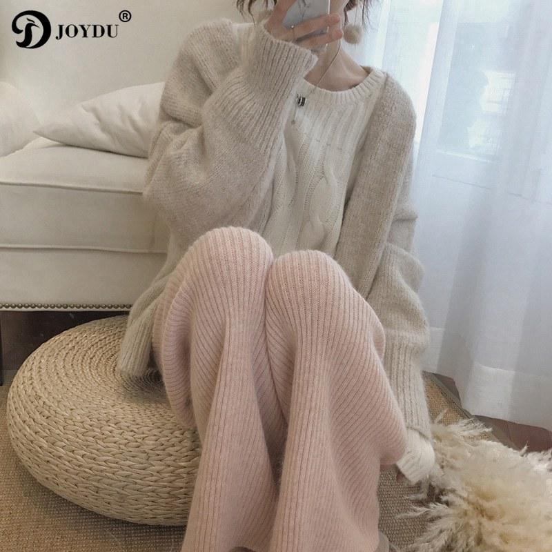 JOYDU Brand   Pants   Winter Rabbit Fur Knitted   Wide     Leg     Pants   Women 2019 New High Waist Trousers Harajuku Jersey Loose Casual   Pants