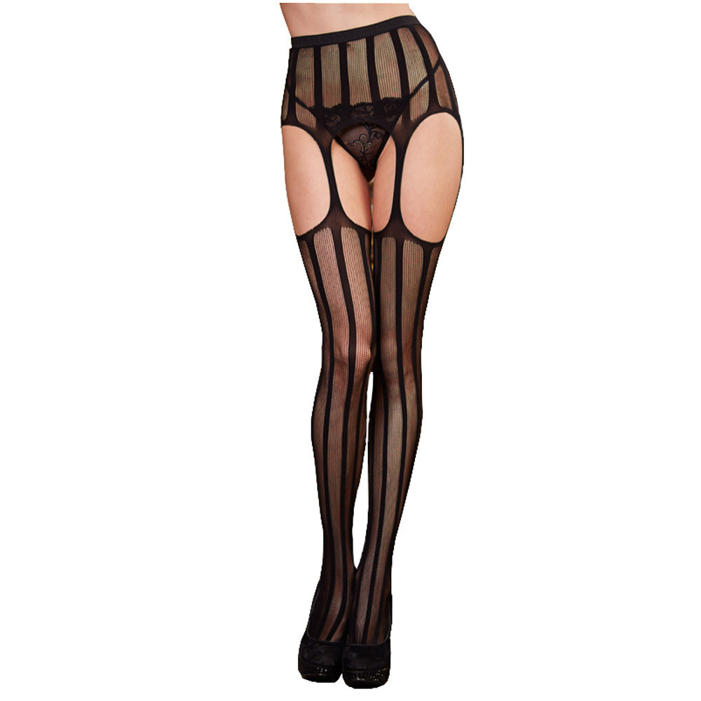 Sexy Stockings Female Hollow Out Tights Lace Thigh High Fishnet Embroidery Open Crotch Pantyhose Women Black Lace Hosiery SW009