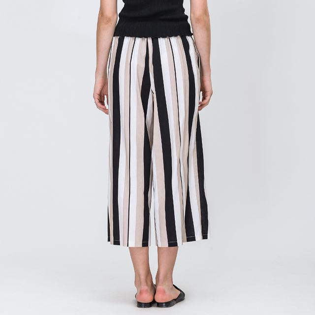 Contrast Color Stripe Lace-up Drawstring Loose High Waist Ankle-Length Pants Fashion Black White