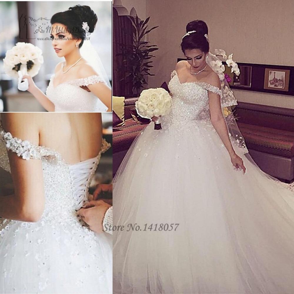 Robe De Mariee Luxury Wedding Dresses 2017 Beads Flowers Wedding Gowns Ball Gown Princesa Bride Dress Off Shoulder Trouwjurk