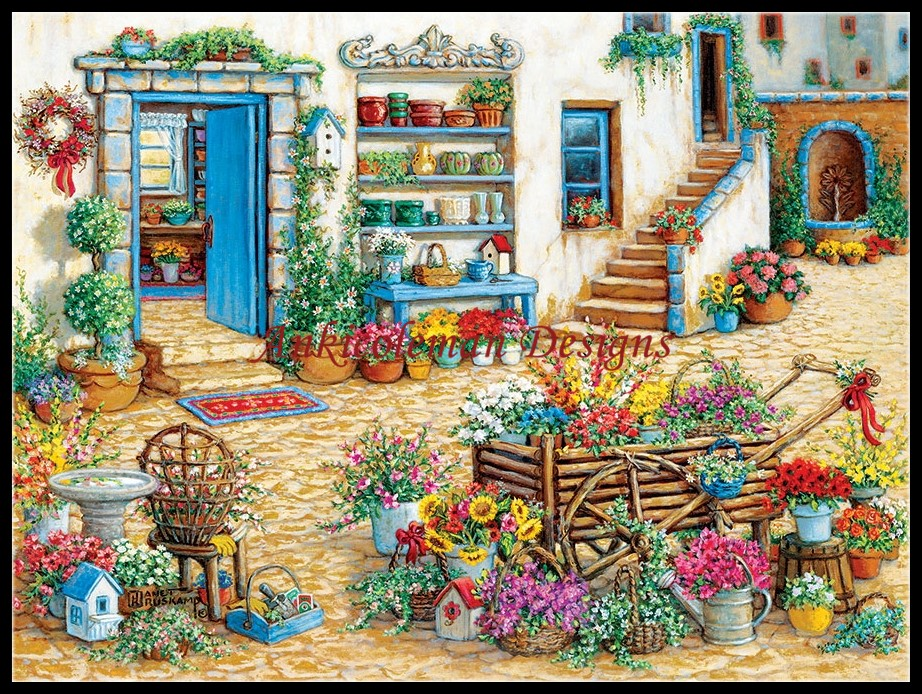 Needlework for embroidery DIY French DMC High Quality - Counted Cross Stitch Kits 14 ct Oil painting - Flower Shop
