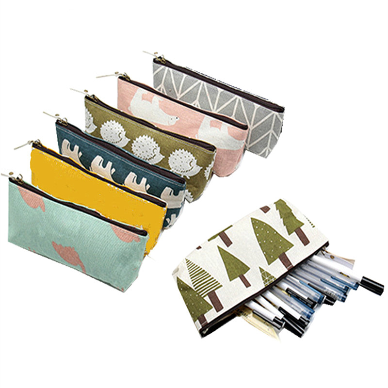 Kawaii Animals Brief Style Grid Stripes Canvas Pencil Bags Pen Box Stationery Storage Pencil Case School Gift Stationery Supply