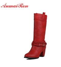 цена на ANMAIRON Motorcycle Boots Sexy Red High Heels Round Toe Mid-calf Boots Shoes Woman Large Size 34-43 Charms Platform Winter Boots