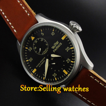 2016 fashion watch Parnis 47mm Power Reserve Sandblast Case Leather Analog Automatic mechanical Mens Watch