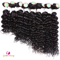 Golden Beauty Deep Wave Sew in Hair Extensions Synthetic Hair Weave 8 14inch 8pcs/pack for a head