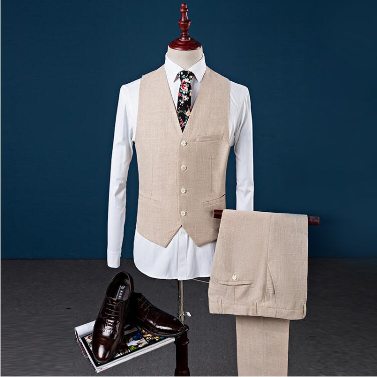 2019 Linen Tuxedo Slim Fit Fashion Leisure Wedding Dress Suits Man Business Groom  Blazers Three Pieces Costume Mariage Terno
