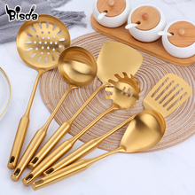 1pcs Stainless Steel Long Handle Kitchen Set Gold Cooking Utensils Scoop Spoon Turner Ladle Cooking Tools Kitchen Utensils Set