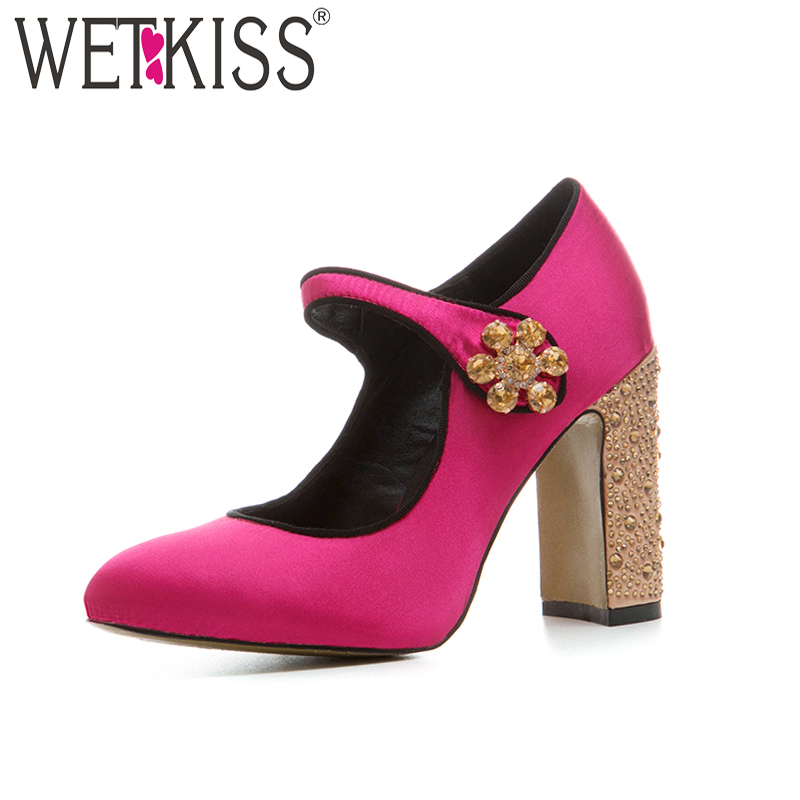 WETKISS Square Heels Pumps-Button Crystal Ladies Shoes Satin Round-Toe Women Mary Jane