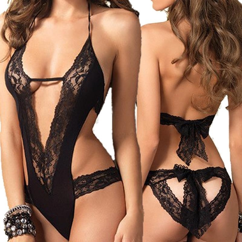 Sexy Lingerie  Black Lace Spliced Erotic Lingerie Costumes Temptation Transparent Sleepwear