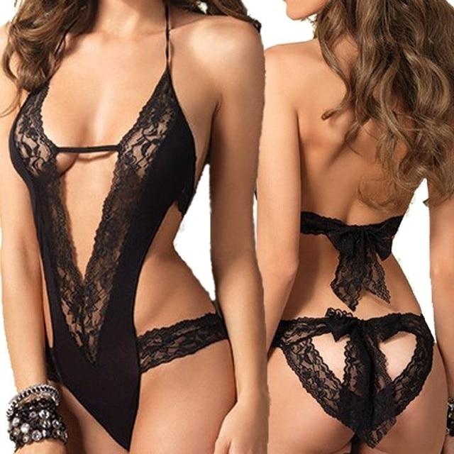 97c393a28 New Sexy Lingerie Hot Black Lace Spliced Erotic Lingerie Costumes Temptation  Transparent Sleepwear