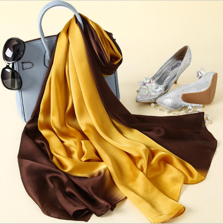 Desain baru Merek Mewah Padat sutra Musim Panas Syal Gradien Dip dye - Aksesori pakaian - Foto 4