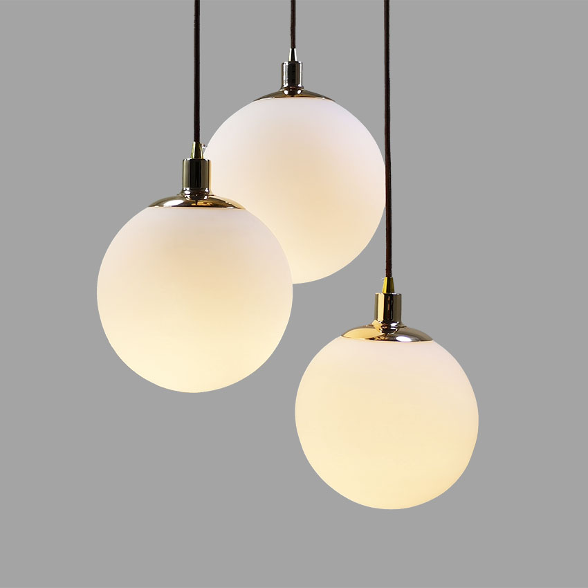 Nordic restaurant pendant lights 15 20 25 30cm white glass ball modern hanging lamp living room