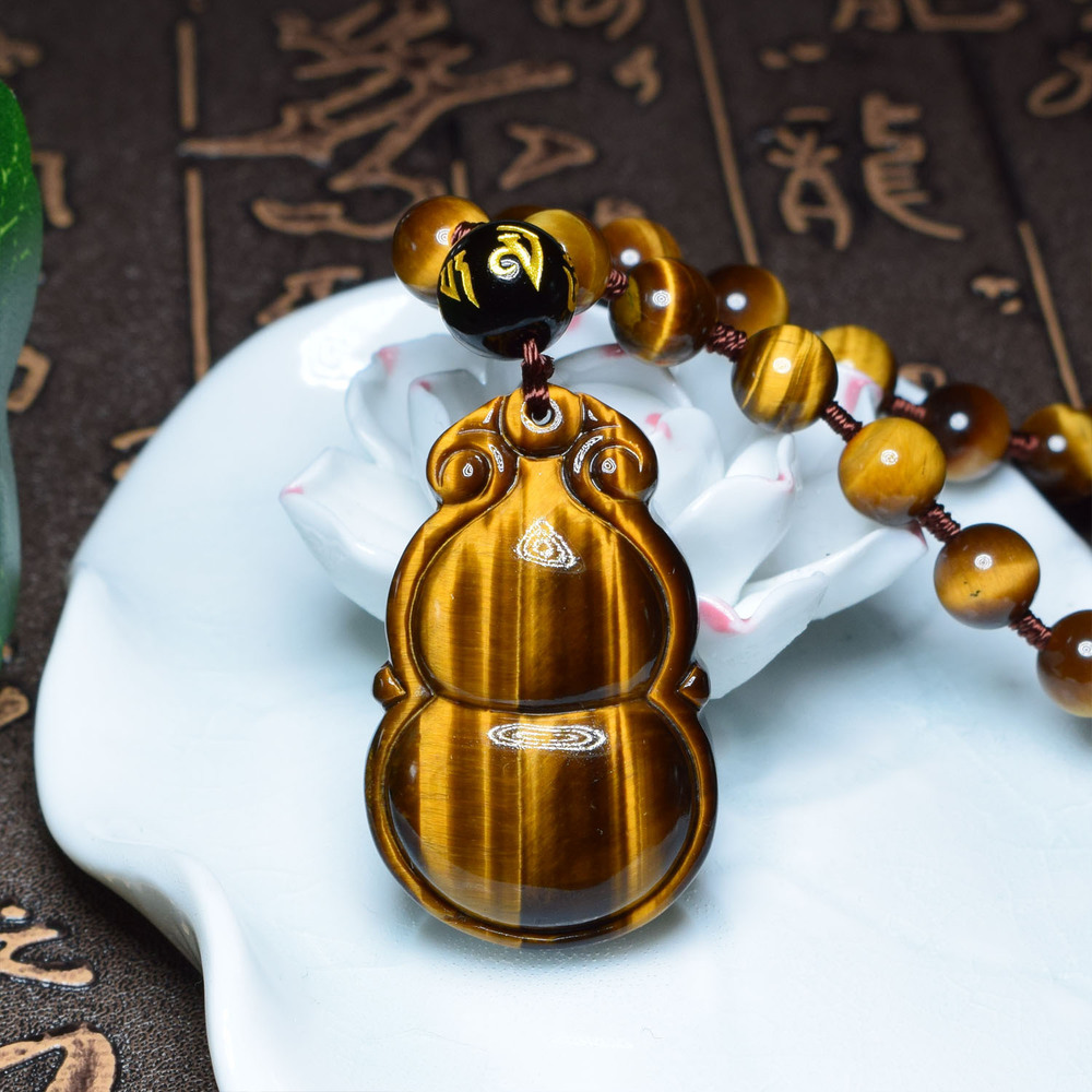 Natural Yellow Tiger's Eye Gourd Pendant Necklace 5A Lightning Golden Crystal Jade Pendant Explosion Pendant Chain