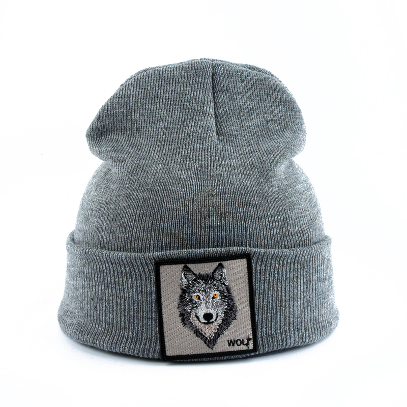 2019 New Fashion Mens Beanie Animal Wolf Embroidery Winter Hats Knitted Beanies For Men Streetwear Hip Hop Skullies Bonnet