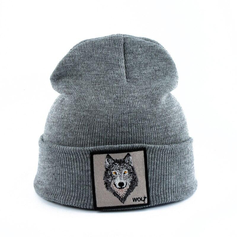 2019 Новая модная мужская шапка с вышивкой в виде животного волка, зимние шапки, вязаные шапки для мужчин, уличная одежда в стиле хип хоп, шапка Skullies