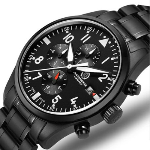 Chronograph run sports waterproof military quartz stop watch men full steel leather strap luxury brand watches