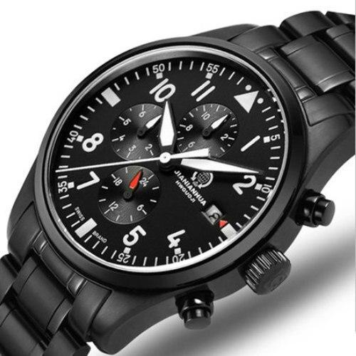 Chronograaf run sport waterdichte militaire quartz stop horloge mannen vol staal lederen band luxe merk horloges saffier lichtgevende-in Quartz Horloges van Horloges op  Groep 1