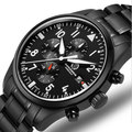 Chronograph run sports waterproof military quartz stop watch men full steel leather strap luxury brand watches sapphire luminous