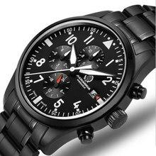 Deportes impermeable militar de cuarzo cronómetro del cronógrafo reloj de los hombres correa de cuero relojes de marca de lujo de acero completo sapphire luminoso