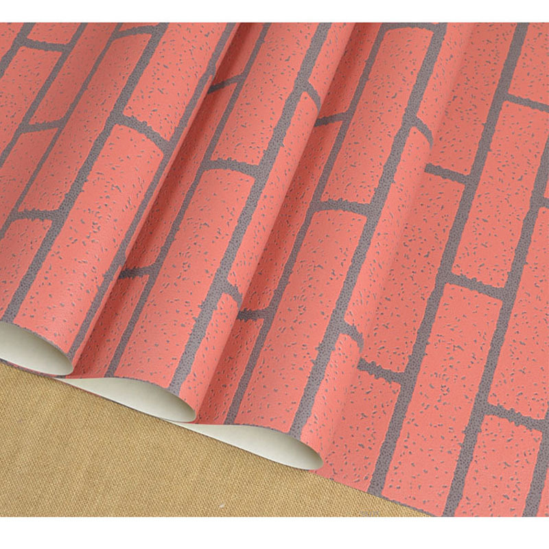 Hot PVC Style Vintage Red Brick Wallpaper Stones Wall Paper 3D ...