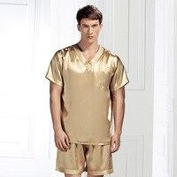 Brand Silk Pyjamas Set Summer Men's Sexy Pajamas 100% Silk Sleepwear Male Short Sleeve Shorts Set Men Homewear Fashion Sets