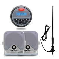 4.5 Waterproof Marine Radio FM AM Audio Bluetooth Stereo for Boat ATV RZR+Heavy duty compact Speakers for Boat Radio +Antenna
