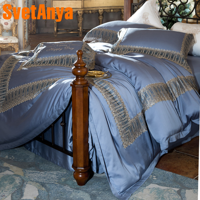 Svetanya 80S Lace Bedding Set Luxury Embroidery Bedclothes Queen Full King Size Bedsheet Pillowcase Duvet Cover Sets BlueSvetanya 80S Lace Bedding Set Luxury Embroidery Bedclothes Queen Full King Size Bedsheet Pillowcase Duvet Cover Sets Blue