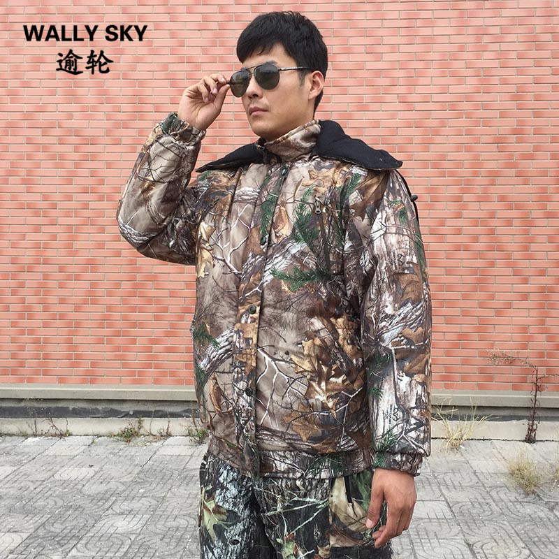 Bionic Jungle Camouflage Hunting Jacket Winter Warm Hooded Elastic Waist Cotton Padded Coat Outdoor Camping Climbing Clothes jungle new outdoor men s recreational fishing hunting baseball cap bionic camouflage