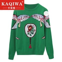 Осень 2018, пуловеры для женщин, подиумный дизайн, двойная Рыбка, Женский рождественский джемпер, зимняя одежда, зеленые вязаные свитера
