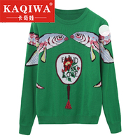 2018 Autumn Pullovers Women Runway Designer Double Fish Female Ladies Christmas Jumper Clothes Winter Green Knitted Sweaters