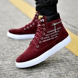 Outono inverno botas de lona masculina moda alta ajuda tornozelo botas sapatos masculinos confortáveis tênis de lona sapatos de tamanho grande 47