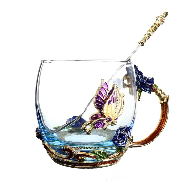 Enamel Crystal Cup Flower Tea Glass