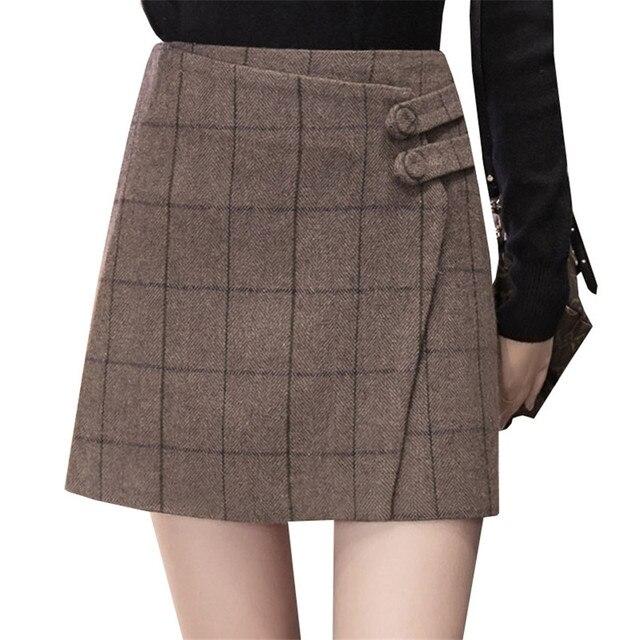 3c8843719 Autumn Winter Women Plaid Skirt New High Waist Woolen Skirts Sexy Slim Pack  Hip Mini Skirt Female A Line Short Skirt Saias AB627