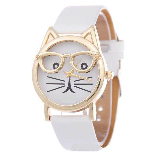 Glasses Cat Watch Women Girl Student Steel Case Leather Female Watches Luxury Br